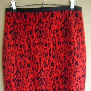 Express Brand red/black leopard print skirt size 8
